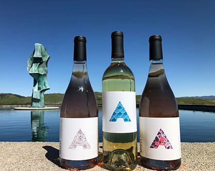image of Artesa wine bottles with the Artesa rootstock sculpture in the background