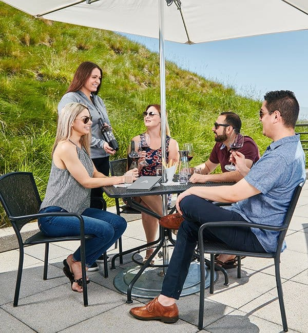 Outdoor Seated Tasting - Group enjoying a wine tasting experience on our terrace
